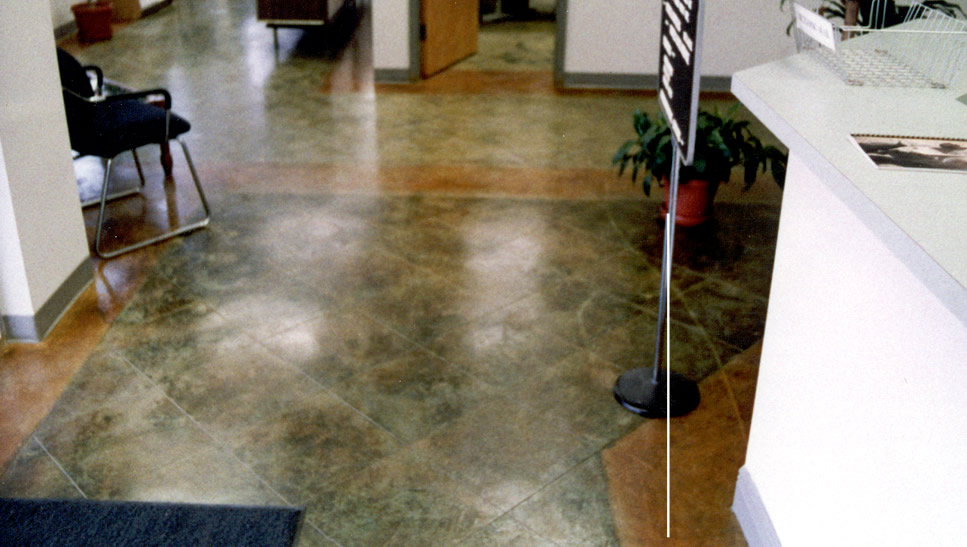 Saw Cut Acid Stained Concrete Office Reception Area